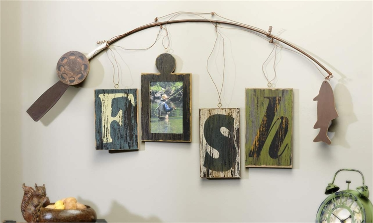 084256 Giftcraft Fishing Rod Design Photo Frame Wall Decor