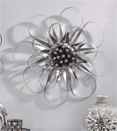 083472 Metal Wall Decor Silver Flower Giftcraft