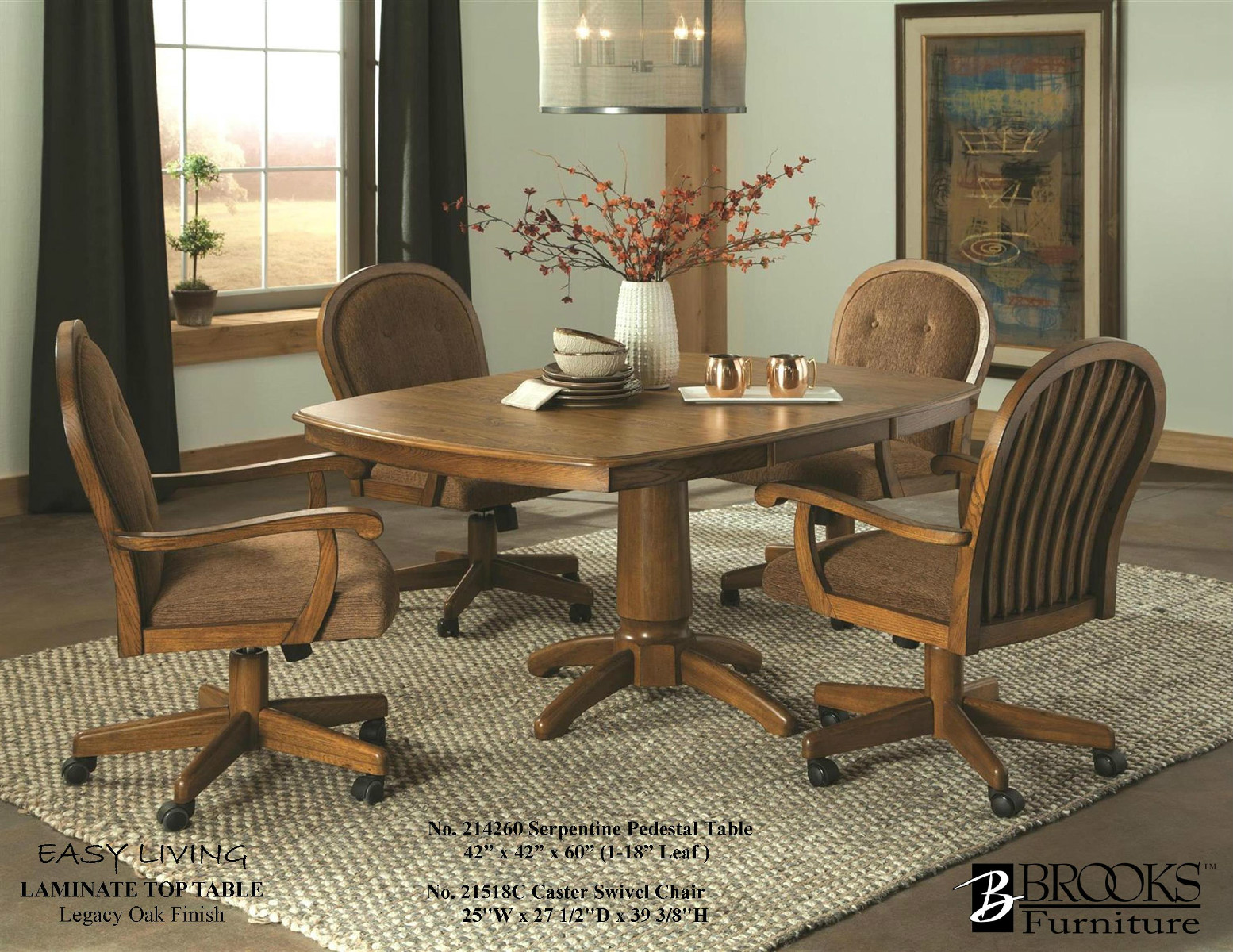 214620 Brooks Laminate Table 21518C Roller Chairs Legacy Oak Finish
